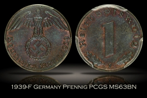 1939-F Germany Third Reich Pfennig PCGS MS63BN