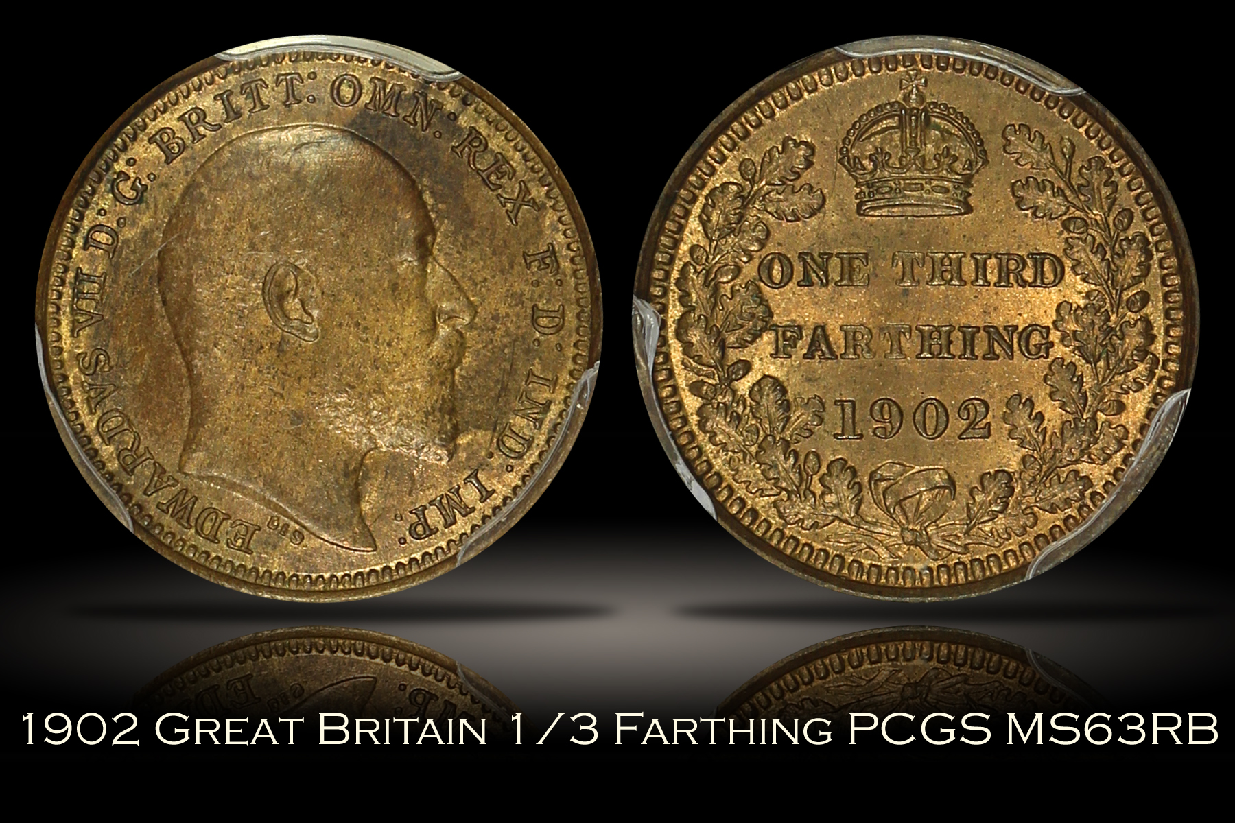 1902 Great Britain 1/3 Farthing PCGS MS63RB