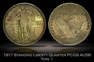 1917 Type One Standing Liberty Quarter PCGS AU58