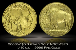 2008-W $5 Buffalo Gold NGC MS70 Early Releases