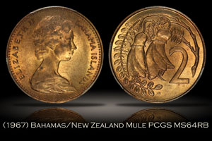 1967 Bahamas New Zealand 2 Cent Mule PCGS MS64RB