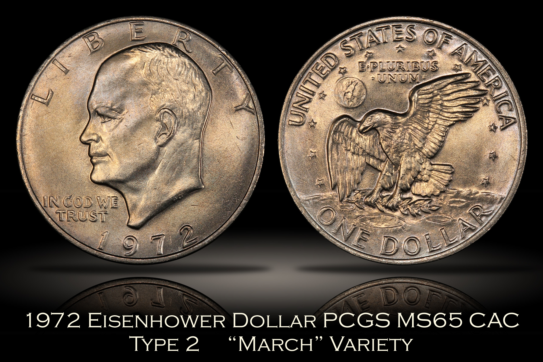 1972 Type 2 Eisenhower Dollar PCGS MS65 CAC March Variety