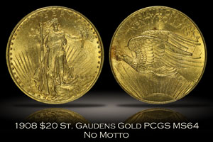 1908 No Motto $20 St. Gaudens Gold PCGS MS64