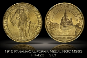 1915 Panama-California Official Medal Gilt HK-428 NGC MS63