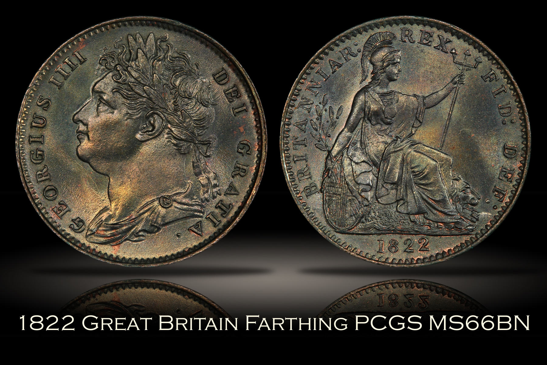 1822 Great Britain Farthing 1/4D PCGS MS66BN