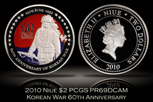 2010 Niue $2 Korean War 60th Anniversary PCGS PR69DCAM