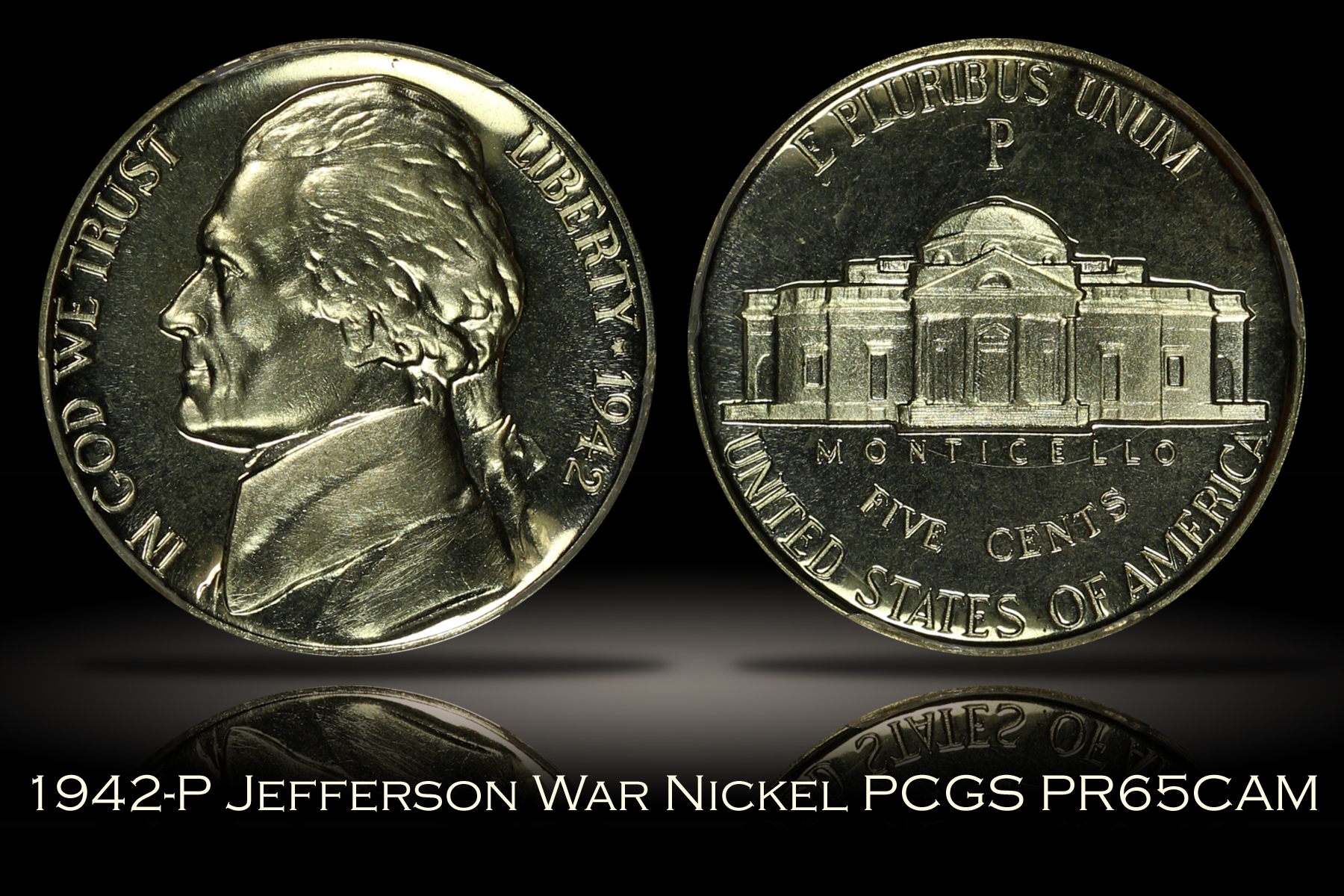 1942-P Proof Type 2 Jefferson War Nickel PCGS PR65CAM