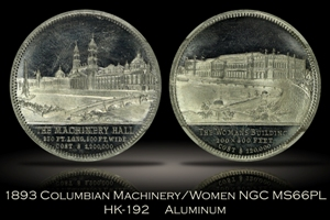 1893 Columbian Expo Machinery Hall/Women's Building HK-192 NGC MS66PL