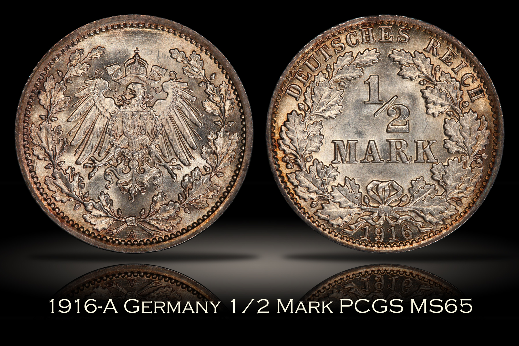1916-A Germany 1/2 Mark PCGS MS65