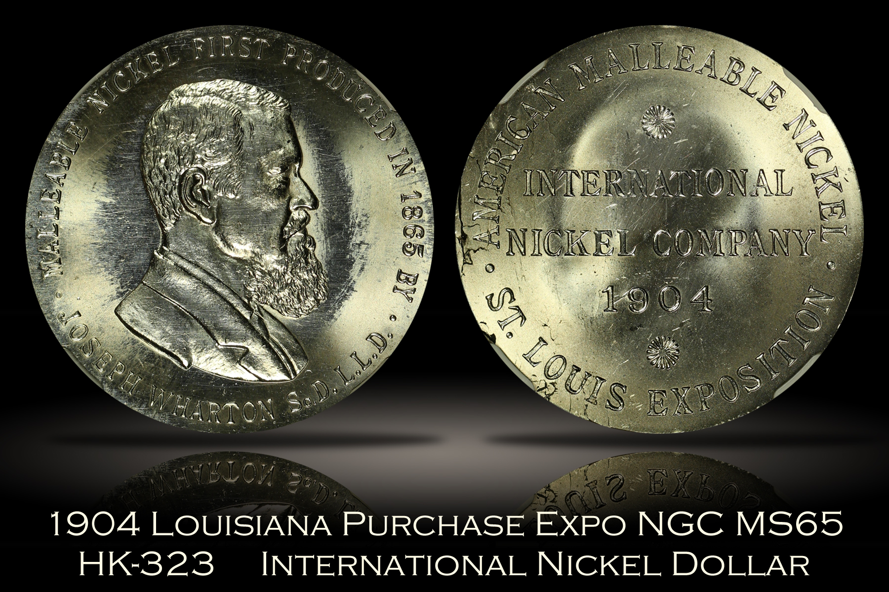 1904 Louisiana Purchase Expo International Nickel Dollar HK-323 NGC MS65