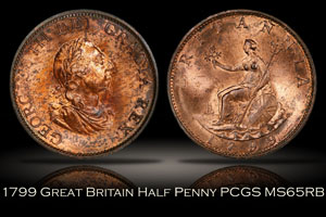 1799 Great Britain Half Penny PCGS MS65RB