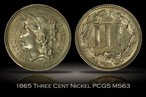 1865 Three Cent Nickel PCGS MS63