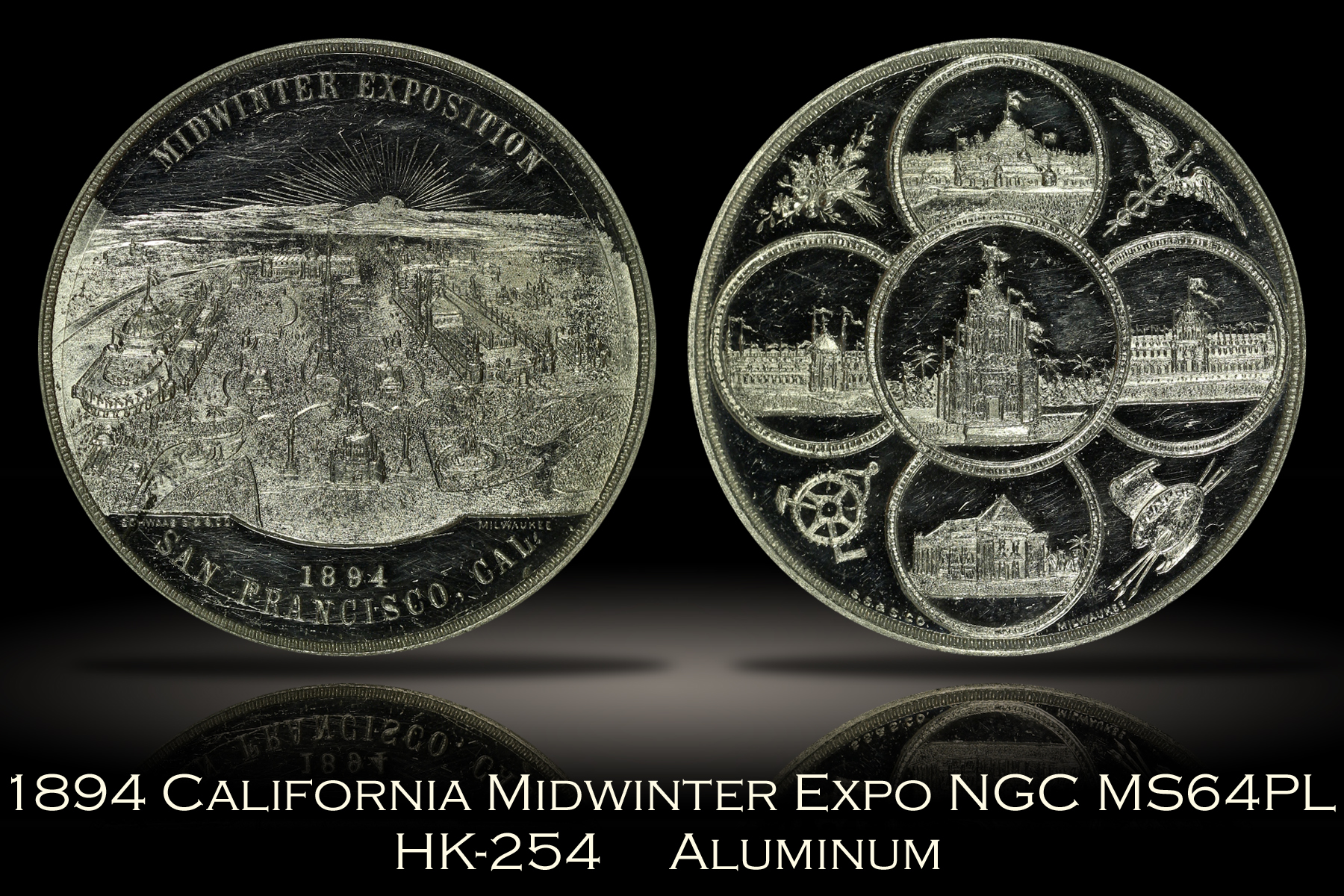 1894 California Midwinter Exposition View Medal HK-254 NGC MS64PL