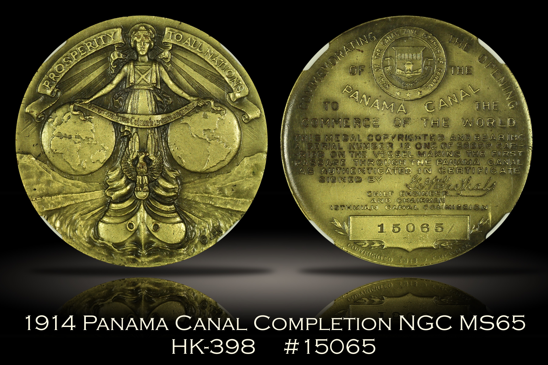 1914 Panama Canal Completion Medal HK-398 NGC MS65