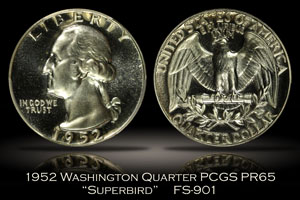 1952 Washington Quarter Superbird FS-901 PCGS PR65