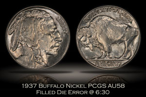 1937 Buffalo Nickel Filled Die Mint Error PCGS AU58