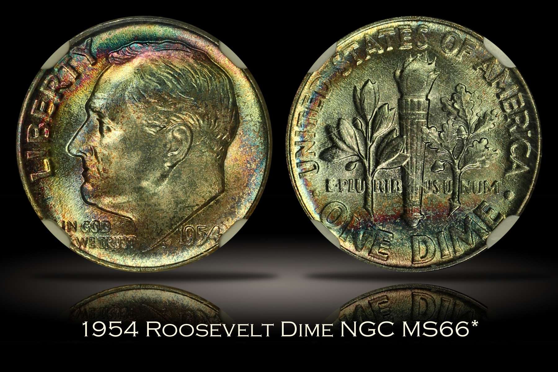 1954 Roosevelt Dime NGC MS66*