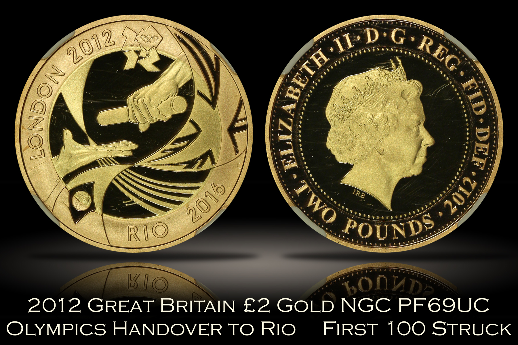 2012 Great Britain £2 Gold London Olympics Handover to Rio NGC PF69UC
