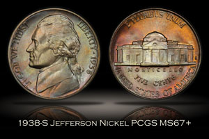 1938-S Jefferson Nickel PCGS MS67+