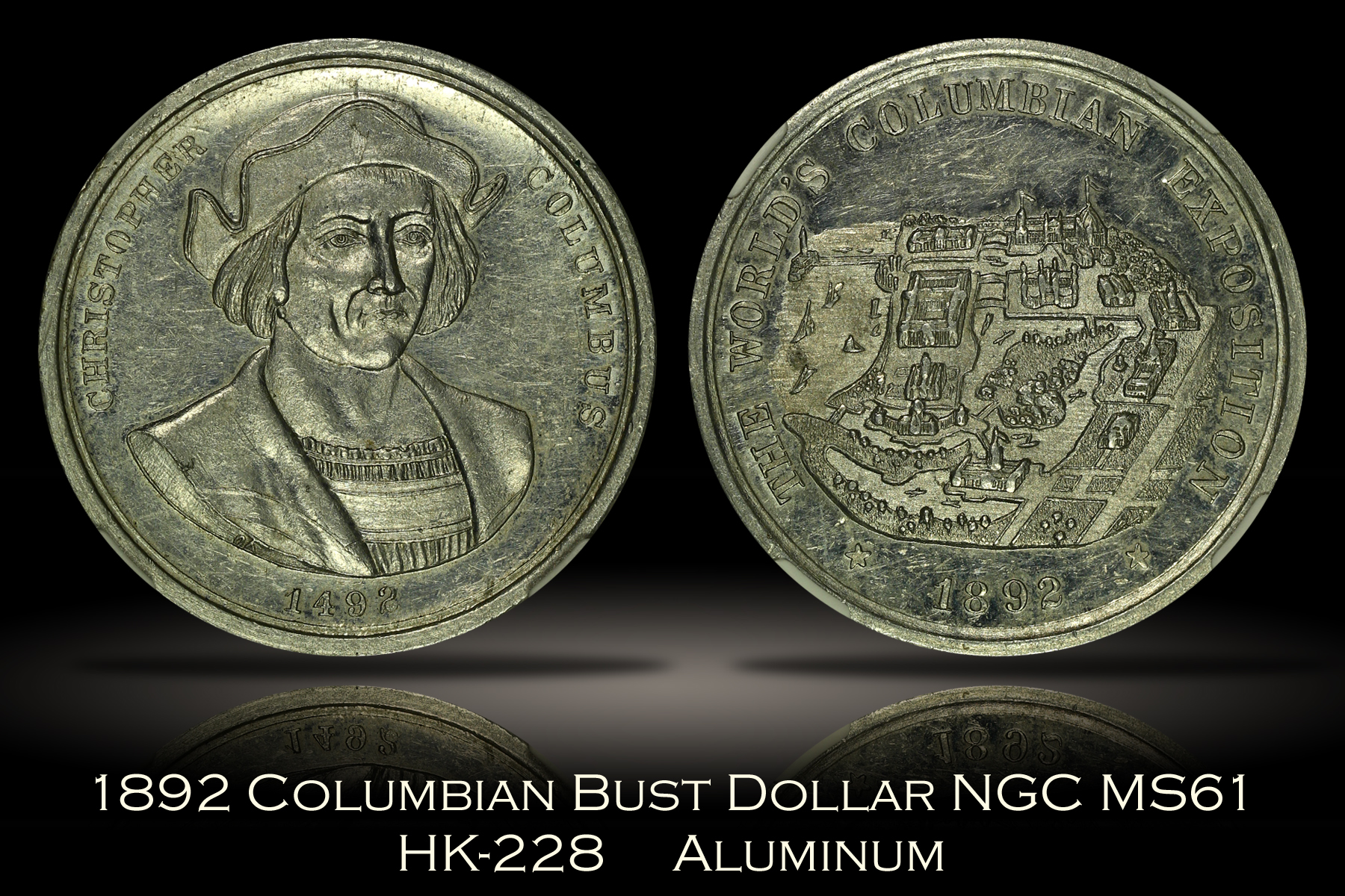 1892 Columbian Expo Bust Dollar HK-228 NGC MS61