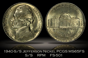 1940-S/S Jefferson Nickel RPM FS-501 PCGS MS65FS
