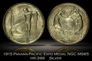 1915 Panama-Pacific Expo Silver Official Medal HK-399 NGC MS65