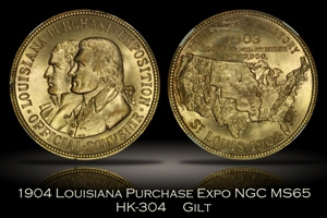 1904 Louisiana Purchase Expo Official Medal Gilt HK-304 NGC MS65