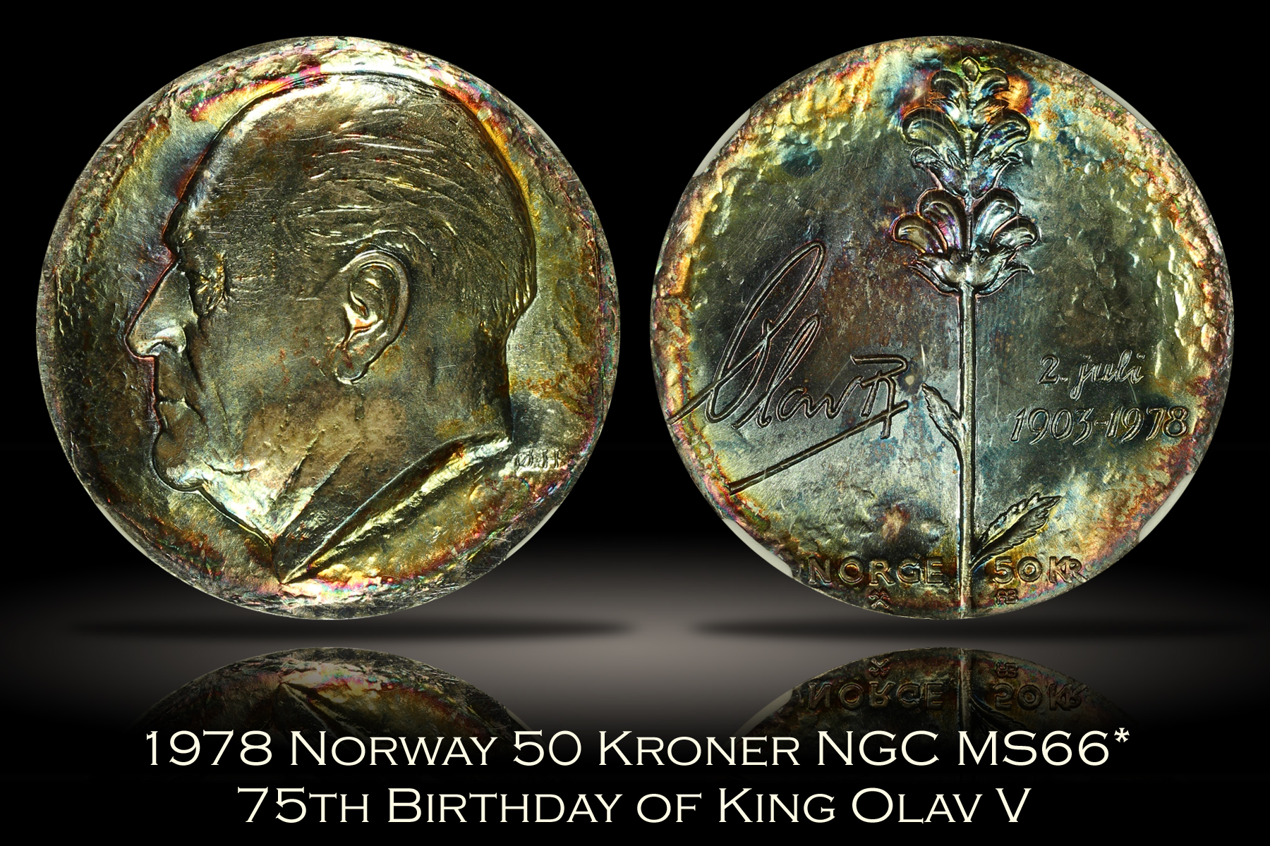 1978 Norway 50 Kroner King Olav V NGC MS66*