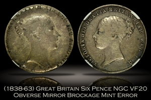 1838-63 Great Britain Six Pence Obverse Mirror Brockage Error NGC VF20