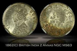 1862(C) British India 2 Annas NGC MS63