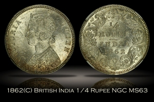 1862(C) British India 1/4 Rupee NGC MS63