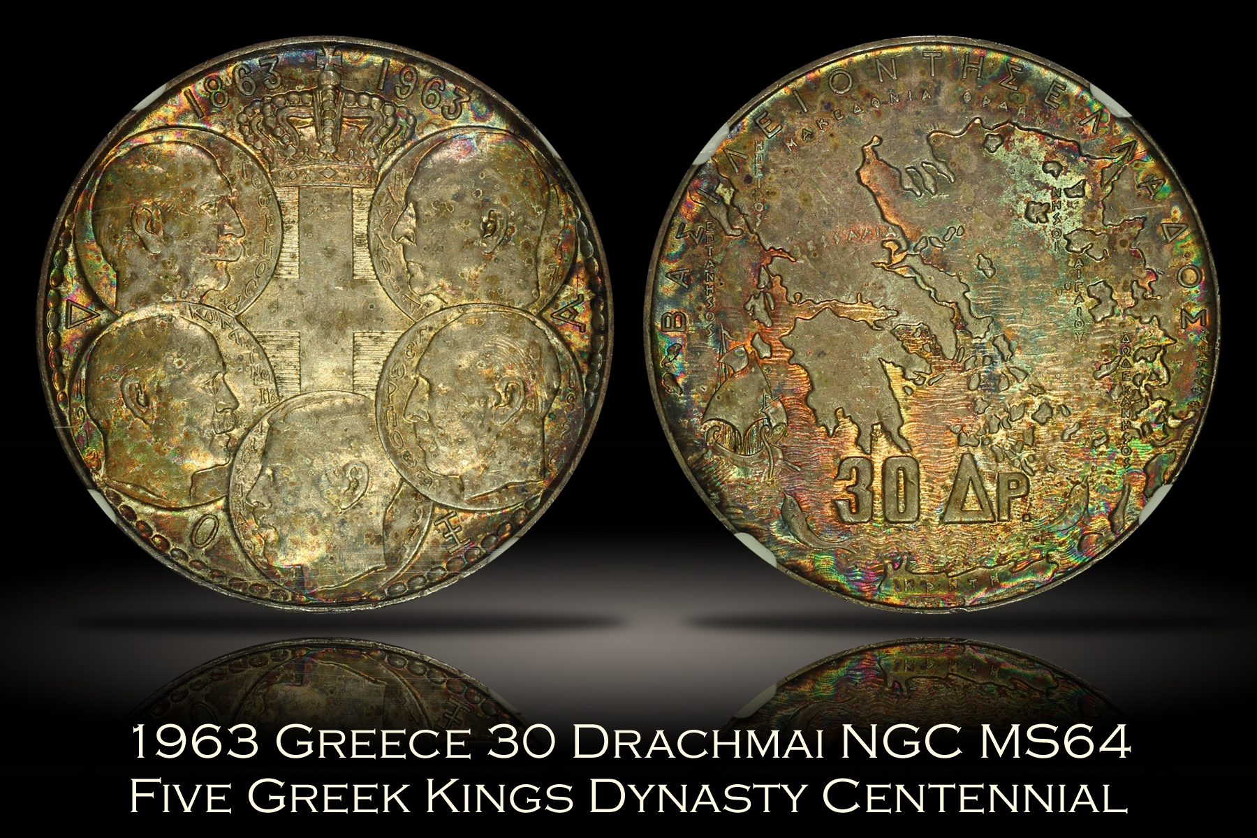 1963 Greece 30 Drachmai Dynasty Centennial NGC MS64