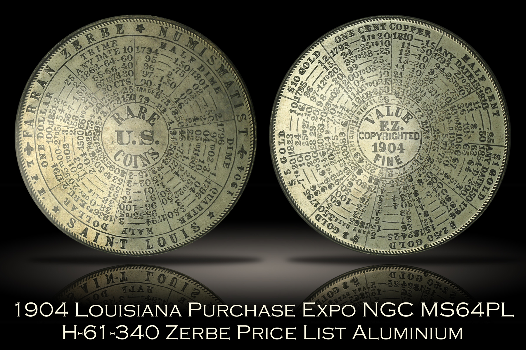 1904 Louisiana Purchase Expo Zerbe Price List Medal H-61-340 NGC MS64PL