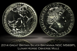 2014 Great Britain Britannia Lunar Horse Mule NGC MS69PL