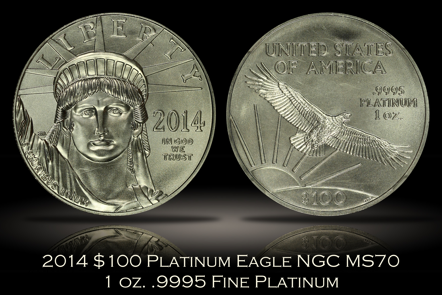 2014 $100 Platinum Eagle NGC MS70 Early Releases