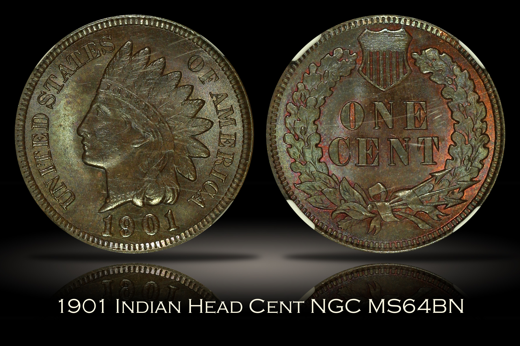 1901 Indian Head Cent NGC MS64BN