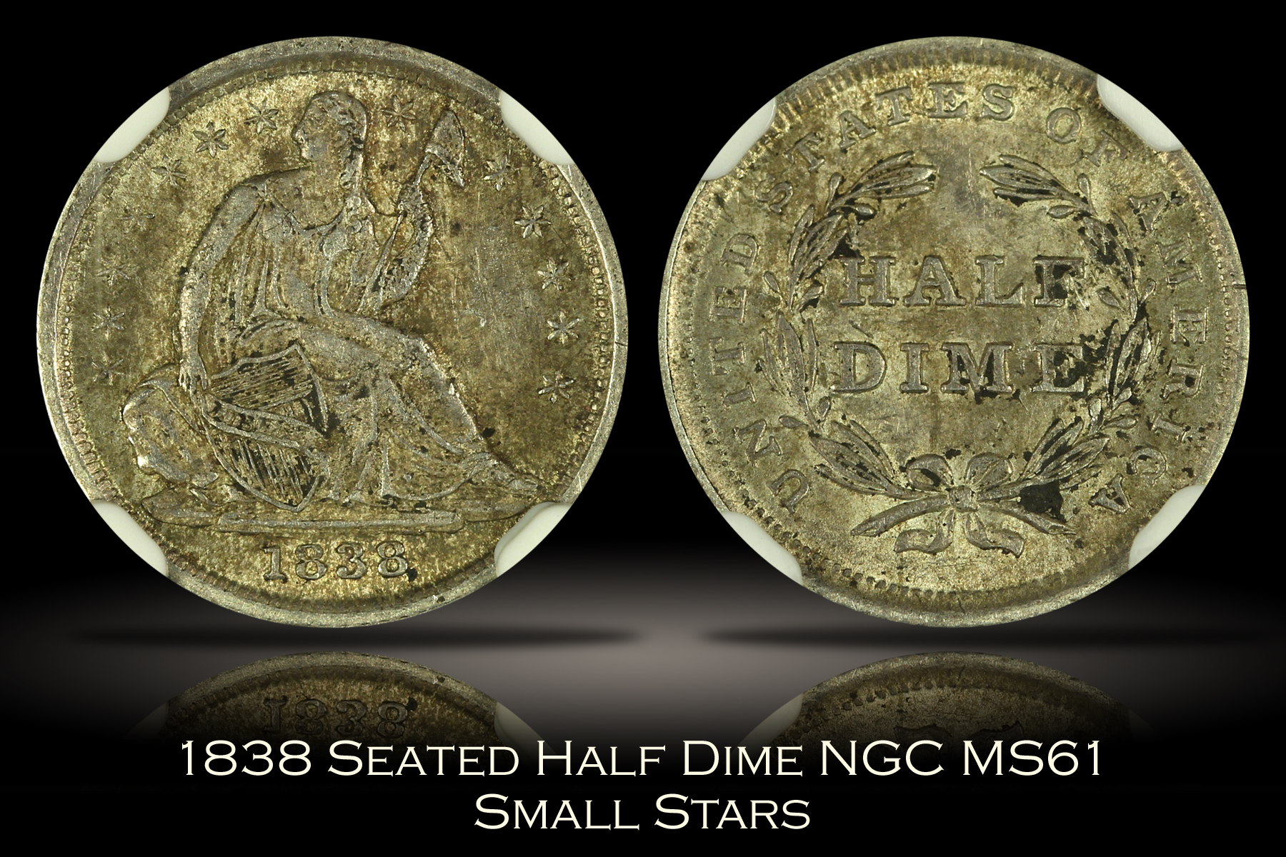 1838 Small Stars Seated Half Dime NGC MS61
