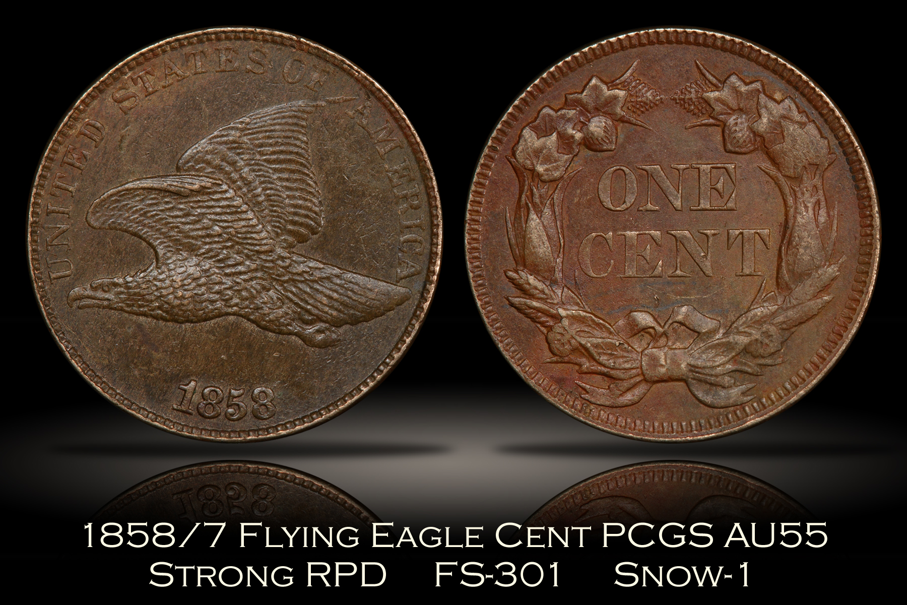 1858/7 Flying Eagle Cent Strong Overdate FS-301 S-1 PCGS AU55