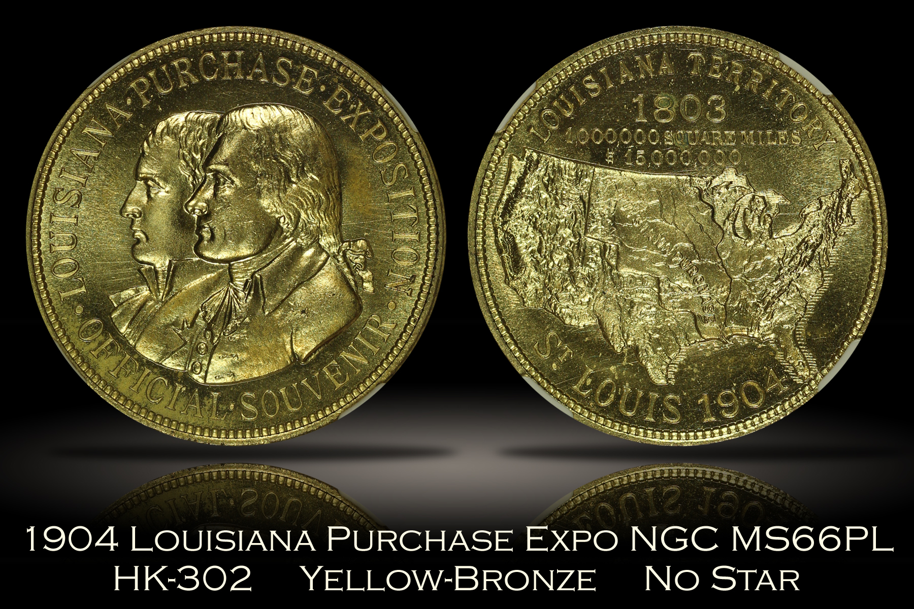 1904 Louisiana Purchase Expo Official Medal HK-302 No Star Error NGC MS66PL