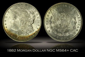 1882 Morgan Dollar NGC MS64+ CAC