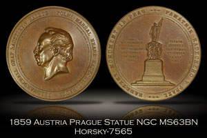 1859 Austria Statue in Prague Bronze Medal Horsky-7565 NGC MS63BN