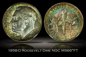 1958-D Roosevelt Dime NGC MS66*FT