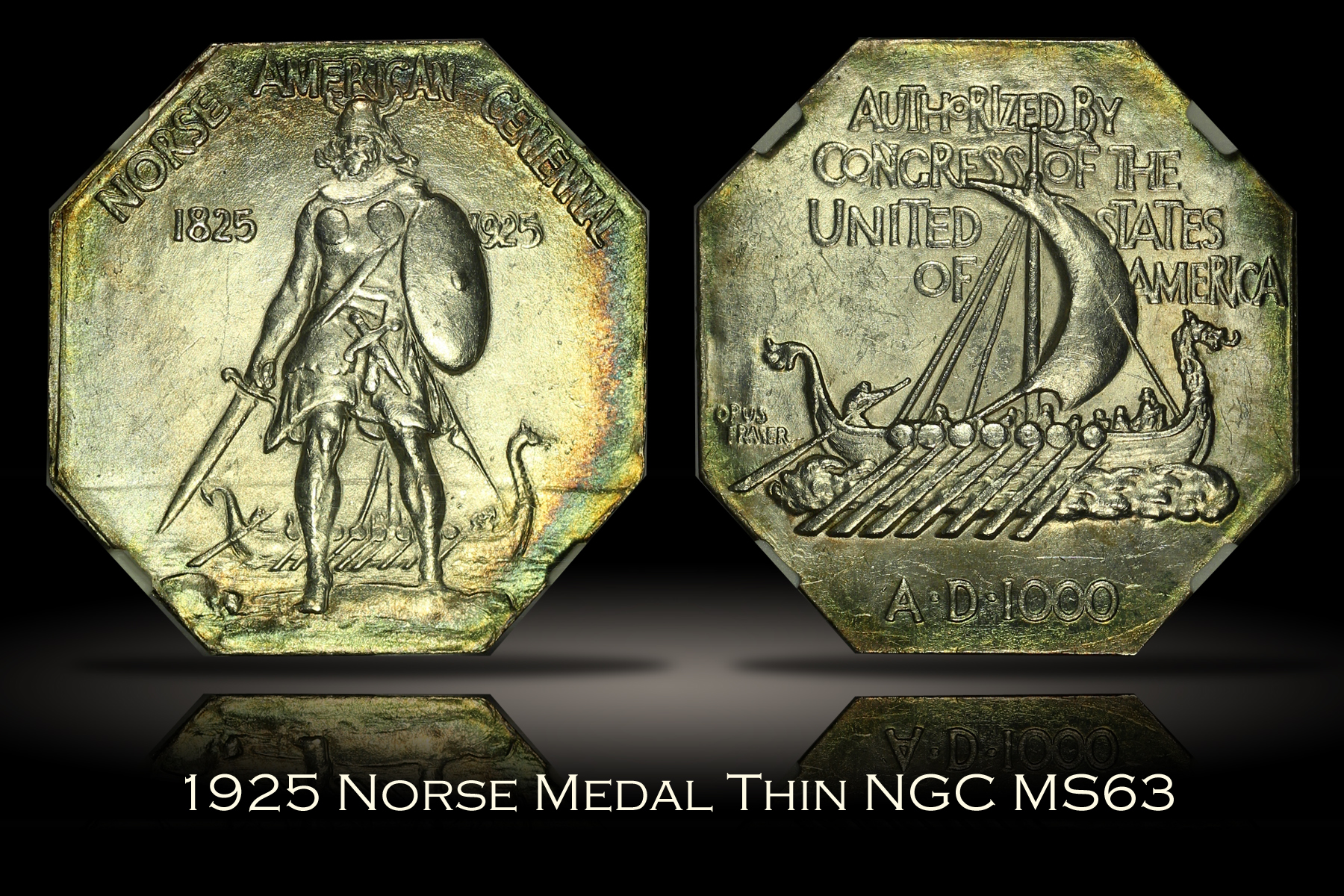 1925 Norse Medal Thin NGC MS63