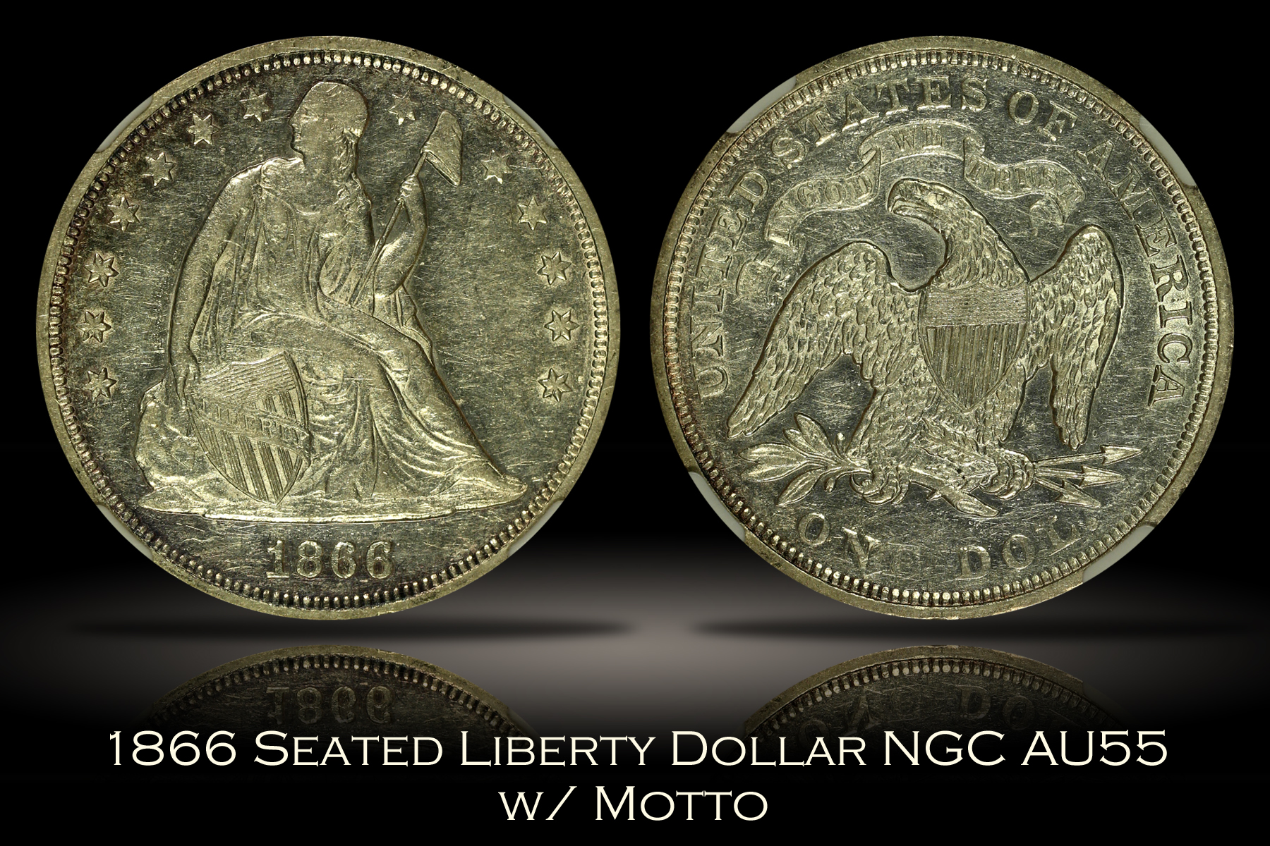 1866 Seated Liberty Dollar with Motto NGC AU55