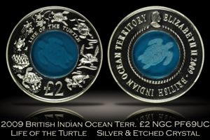 2009 British Indian Ocean Life of the Turtle NGC PF69UC