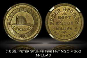 (1859) Peter Stumps Chicago Fireman's Helmet M-ILL-40 NGC MS63