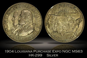 1904 Louisiana Purchase Expo Official Medal Silver HK-299 NGC MS63