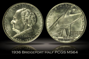 1936 Bridgeport Half PCGS MS64 OGH