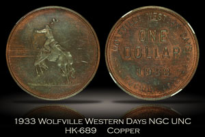 1933 Wolfville Western Days HK-689 NGC UNC Details