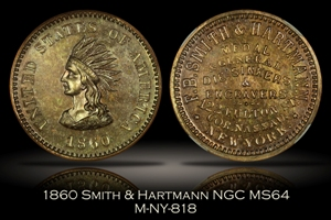 1860 Smith & Hartmann Indian Token NY-818 NGC MS64
